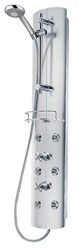 Schulte D9671 41 Duschsystem alu-chromoptik mit Massagedüsen und Glasablage, 38°C Sicherheits-Thermostat, Kreuzgriffe, Duschpaneel mit Handbrause
