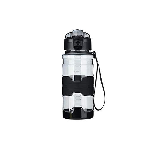 Jusemao Botella deportiva antideslizante anti-caída Copa espacial con cubierta de rebote botella de agua portátil 500ml-black_500ml