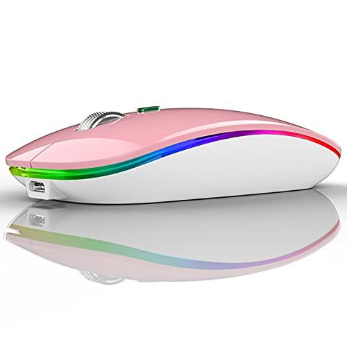 Uiosmuph Ratón inalámbrico LED, G12 Delgado Recargable inalámbrico silencioso ratón, 2.4 G, USB óptico inalámbrico, ratón con Receptor USB y Adaptador Tipo C (Rosa)