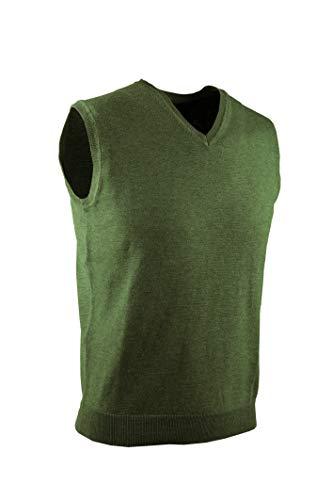 0003Voray Ga Chaleco Básico de Punto Cuello Pico (Verde Caza, XXXL)