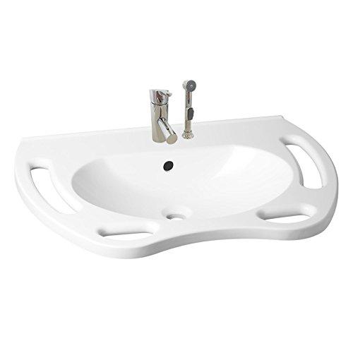 KIBOMED GTM-700 Waschbecken weiß mit Überlauf-Schutz + behindertengerechter Armatur 201 inkl. Handbrause   700x560 mm   frontale Haltegriffe + seitliche Handtuchhalter   Rollstuhl unterfahrbar