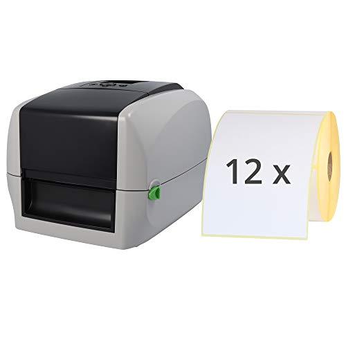 Labelident Starterset - cab MACH2 Etikettendrucker mit Abreißkante inkl. 3000 Etiketten (103 x 150 mm) auf 12 Rollen, 300 dpi - Thermotransfer- und Thermodirektdrucker