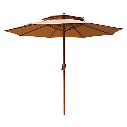Sombrilla de Jardín de 2.7 M, Sombrilla de Playa para Exteriores, Sombrilla de Patio con Manivela, Sombrilla Portátil Impermeable, para Balcón, Patio, Playa