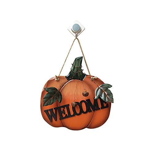 Dingyue Señal de bienvenida de calabaza MDF hierro rústico decoración para otoño cosecha Acción de Gracias Halloween puerta colgante adorno de pared