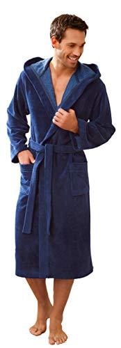 Morgenstern Albornoz para hombre I rizo I Velour I Long I Luxus Azul Medio Talla M