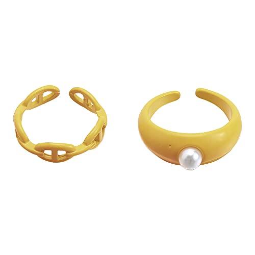 2 unids/set de regalo de joyería para mujeres hombres de color púrpura anillo de perlas abierto colorido caramelo color conjunto irregular (juego de 2, amarillo)