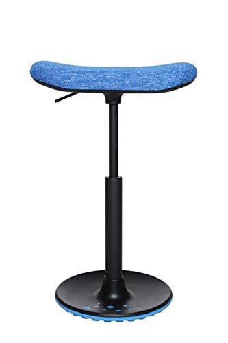 Topstar Sitness H2, Arbeitshocker, Stehhilfe, Drehhocker, Skateboardsitz, höhenverstellbar, Stoffbezug Polyester, blau