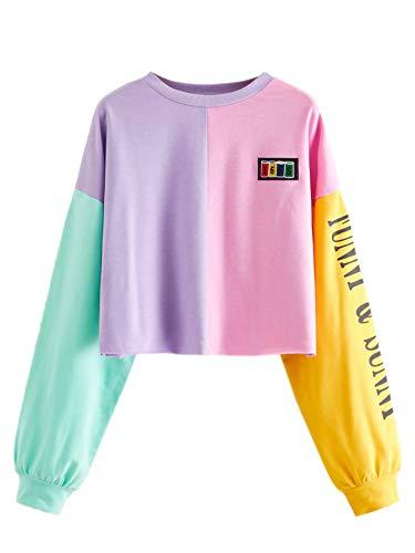 SweatyRocks Women's Pullover Letter Print Color Block Long Sleeve Crop Top Sweatshirt Multi-1 Medium