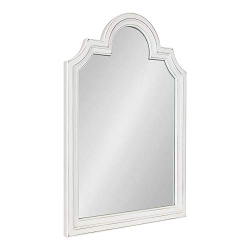 Kate and Laurel Sindahl Rustic Wood Framed Arch Wall Mirror, 26 x 35, Distressed White, Moroccan-Inspired Accent