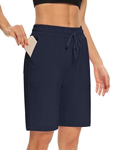 DIBAOLONG Womens Yoga Shorts Loose Comfy Drawstring Lounge Bermuda Shorts with 3 Pockets Navy L