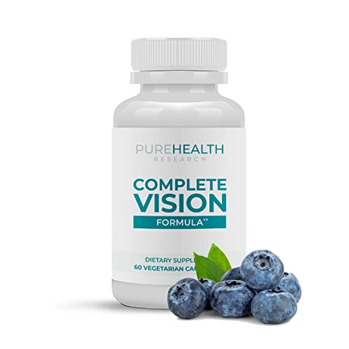 Complete Vision Formula - Eye and Vision Health Support with Lutein, Zeaxanthin and Bilberry - Support Eye Strain, Dry Eye, Blue Light Filtering Formula, Vegan, Non-GMO, 1 Bottle