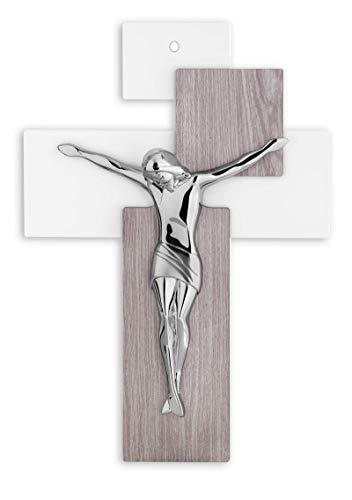 MAZZOLA LUCE Piccolo crocifisso da Parete Moderno Design Fibra di Legno Rovere Cristo marmorino Argentato 17x12cm con Foro