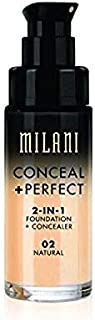 Milani Conceal + Perfect 2-in-1 Foundation Concealer, Natural, 1. 0 Fluid Ounce