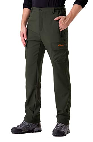 Clothin Men's Fleece-Lined Ski Cargo Pants - Warm, Breathable, Water-Repellent, Wind-Resistant ArmyGreen(XL)