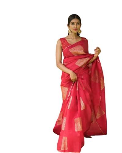 BY ECO GAJARI BOX Women's Kanjivaram Soft Silk Banarasi Saree with Blouse Piece