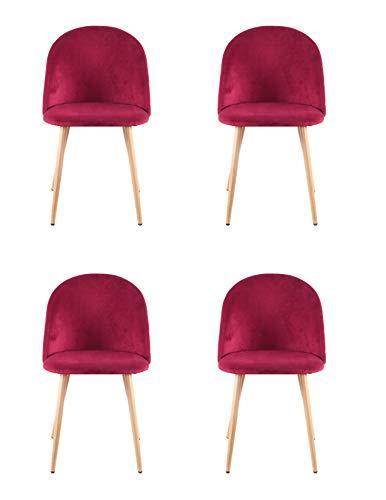 00 Chaise de salle à manger avec coussins, dossier et pieds en bois et métal, style velours vintage, convient pour le bureau, la maison, la salle à manger et le salon (rouge, 4)