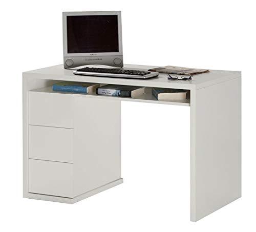 Amazon Marke - Movian - Schreibtisch mit 3 Schubladen, 110 x 75 x 60cm, Hochglanz Weiß