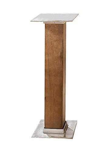 GILDE houten zuil met aluminium plaat - van mangohout H 71 cm B 27,5 cm D 27,5 cm