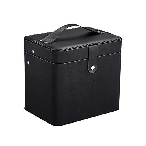 Fransande - Caja de almacenamiento portátil de gran capacidad para joyas, de escritorio, caja de maquillaje, cosméticos, con espejo, color negro