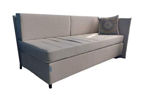Achilles Berlin Boxsofa | Kombination aus Couch und Boxspringbett | Bonnellfederkern mit Möbelstoffbezug | Innovation Made in Germany (Hellbeige)