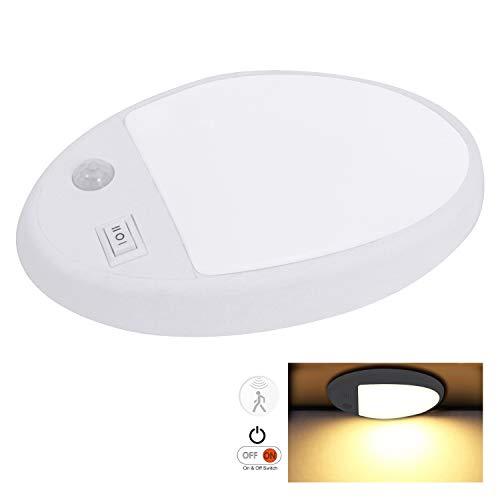 Facon LED-Deckenleuchte für Innenbeleuchtung präzisem PIR-Bewegungssensor und -Schalter, 12 V DC für Wohnmobil-Wohnmobil-Marine (Single Dome Sensor Light)