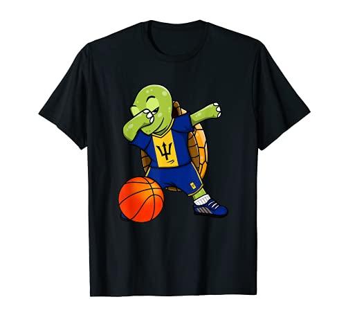 Dabbing Turtle Barbados Jersey Barbados Baloncesto Fans Art Camiseta