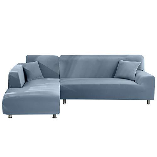 Ryoizen Fundas para Sofá Chaise Longue Elásticas Fundas de Sofá Cheslong Estampada Antideslizante Lavables Funda Protectora para Sofá en Forma de L Duradera(Azul,3 plazas+ 3 plazas)