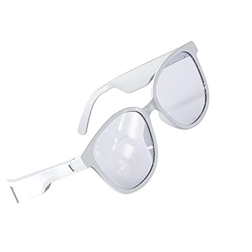H HILABEE Gafas de Sol de Audio con Auriculares de Oreja Abierta, Gafas Bluetooth para Hombres y Mujeres Gafas de Ciclismo Ligeras en Ciclismo, Pesca, Correr, Cuadrado Blanco
