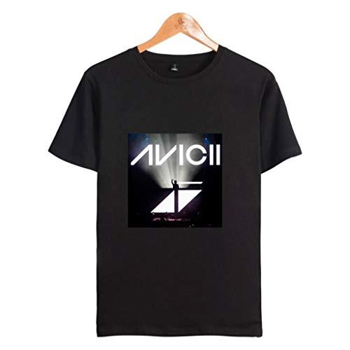 Rugby clothing boutique Q Avicii Männer in voller Größe gedruckt Kurzarm-T-Shirt mit Rundhals T-Shirt (Color : Black, Size : XXS)