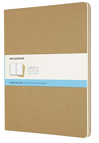 Moleskine Cahier Journal, Soft Cover, XXL (8.5' x 11') Dotted, Kraft Brown (Set of 3)
