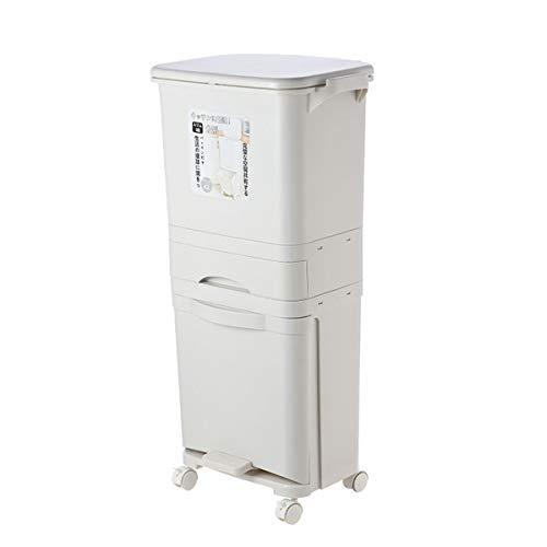 Cubos De Basura con Ruedas Y Tapa Dos Compartimentos Apilable Basurero Reciclaje Vertical para Recogida Selectiva 42 litros
