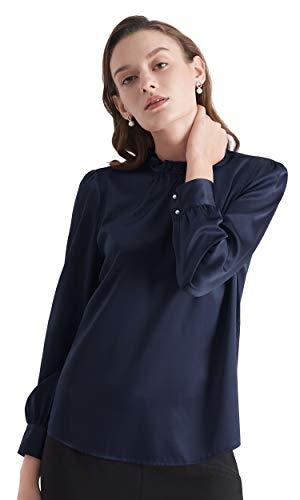 LilySilk Einfache Seidenbluse Damenmode Seidenhemd Damenhemd Langarmhemd Damen aus Seide Navy Blau XL Verpackung MEHRWEG