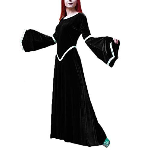 Dames vintage stijl middeleeuwse stijl Trompet mouw wijd uitlopende mouwen grote swing mouwen ronde hals hoge taille stiksels lange jurk