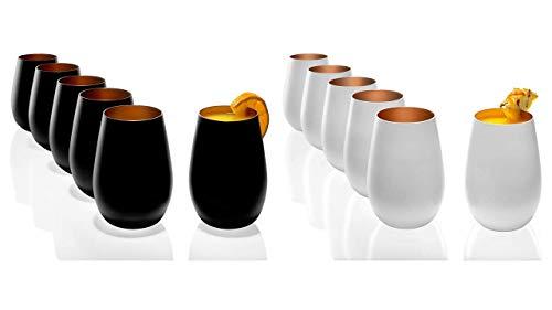 Stölzle Lausitz Becher 465 ml, 12er Set, Wassergläser 6X schwarz und 6X weiß (matt) und Bronze, spülmaschinenfest + Gratis 4er Set EKM Living Edelstahl Trinkhalme