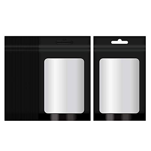 Baoblaze 100 Pack geruchs geschützte Taschen-rückführ Bare Mylar-Taschen mit klarem Fenster Folie Beutel Flache -Tasche für verpackung, lagerung, Schwarz L