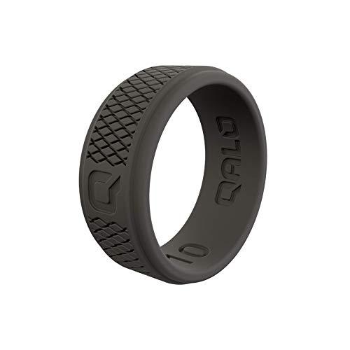 QALO Men's Dark Grey Crosshatch Q2X Silicone Ring Size 09