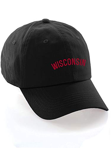 Daxton USA Cities Baseball Dad Hat Cap Cotton Unstructure Low Profile Strapback - Wisconsin Black Red