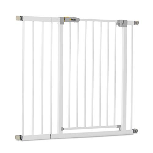 Hauck Safety Gate for Doors and Stairs Open N Stop KD incl. 21 cm Extension / Pressure Fit / 96 - 101 cm Large / Metal / White