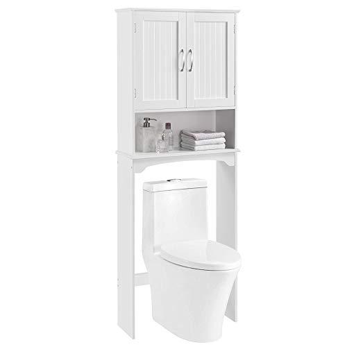 YAHEETECH Over The Toilet Space Saver, Double Door Bathroom Storage Organizer, Toilet Rack with Inner Adjustable Shelf and Open Storage Shelf, White