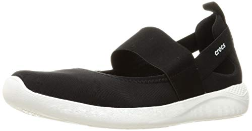 Crocs Women's LiteRide Mary Jane Sneaker, Black/White, 11 Women