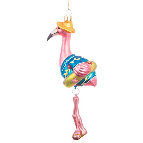 LORMOS Glass Blown Ornaments for Christmas Tree Male Flamingo in Blue