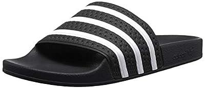 adidas Originals Men's Adilette Shower Slides Sandals, Black/White, 9