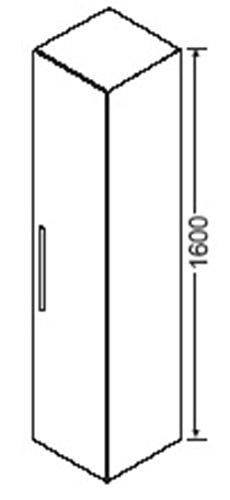 Burgbad Hochschrank, 1 Tür, 4 Glaseinlegeböden, HSAY040