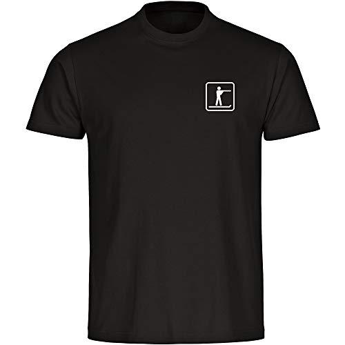 T-Shirt Biathlon Läufer/Schütze Biathlet Piktogramm auf der Brust schwarz Kinder Gr. 128 bis 164 - Shirt Trikot Sportshirt Logo, Größe:164