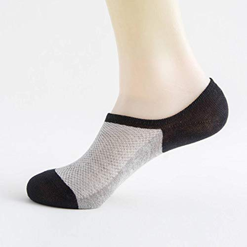 N-B 5 Pares de Calcetines de compresión de Barco Invisibles de Silicona Antideslizantes de Fibra de bambú de Moda Calcetines de algodón para Hombres