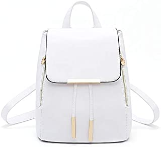 Student Supplies Backpack Female Double Zipper Iron Edge Drawstring Flip PU Leather Backpack Teen Fashion Girl Backpack,White