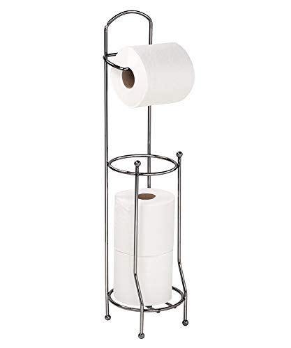 Bath Bliss Free Standing Toilet Paper Holder and Dispenser, Holds 4 Rolls, Rust & Water Resistant, Onyx