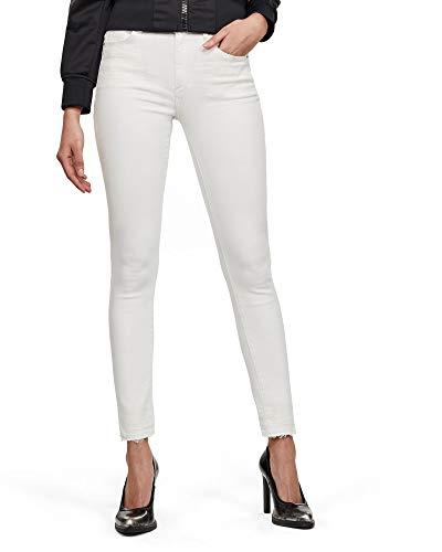 G-STAR RAW Damen Skinny Jeans 3301 High Waist Skinny Ripped Ankle Skinny, Weiß (White C267-110), 34W / 32L