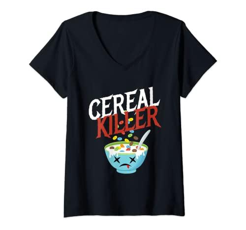 Mujer Cereal Killer I Disfraz de Cereal Cereal Fiesta de Halloween Camiseta Cuello V