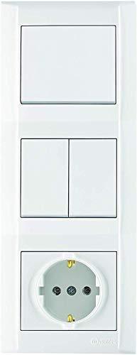 Defne Kombi-Dose | Aus-/Wechselschalter & Serienschalter & Schuko Steckdose + Dreifachrahmen, VDE Zertifiziert, Unterputz mit Steckklemme, in weiß